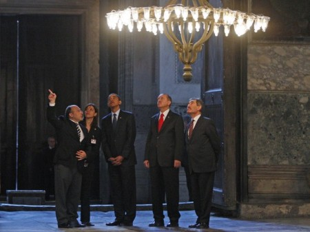"""Look there Mr. President, that is the exact spot where the infidel Patriarch was butchered in 1453."""